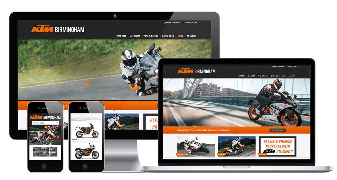 web design for KTM dealers